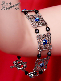 Imperiale Black & Blue Crystal Victorian Filigree Bracelet