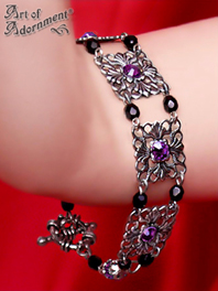 Dionysia Black & Purple Crystal Baroque Filigree Bracelet